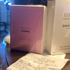 "CHANEL ""CHANCE"" PARFUME UNOPENED NEW (receipt)"